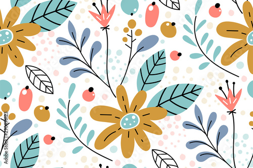 Fotografía Seamless pattern with creative decorative flowers in scandinavian style