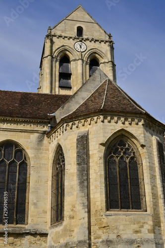 Auvers sur Oise , France - july 26 2017 : Notre Dame de l Assomption church Canvas Print