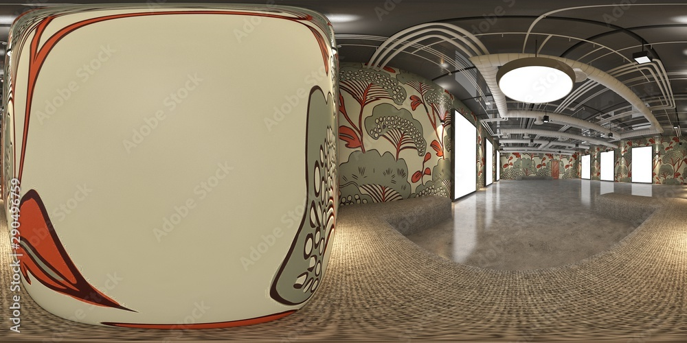 Fototapeta 3d gallery room  illustration spherical 360 vr degrees, a seamless panorama of the room and interior design for business room (3D rendering)