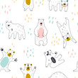 Seamless childish pattern with cute bear. vector hand draw doodle comic art illustration.