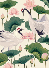 Fototapeta Do sypialni two japanese cranes and pink lotus