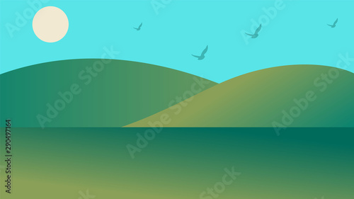 Poster Turquoise mountains, sunset, clouds, mountain view, landscape vector design, landscape background, landscape illustration