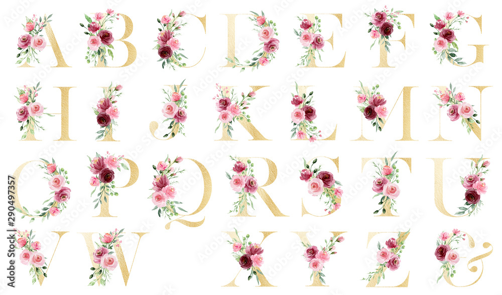 Fototapeta Gold alphabet, set letters with watercolor flowers roses and leaf. Floral monogram initials perfectly for wedding invitation, greeting card, logo, poster and other. Holiday design hand painting.