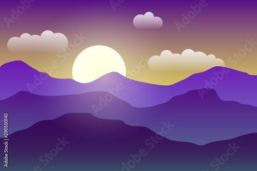 Poster Violet Illustration of the sunrise in the mountains. Misty landscape.