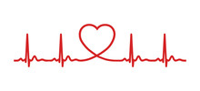 Ecg Heart Beat Line With Heart Shape. Vector Illustration Icon.