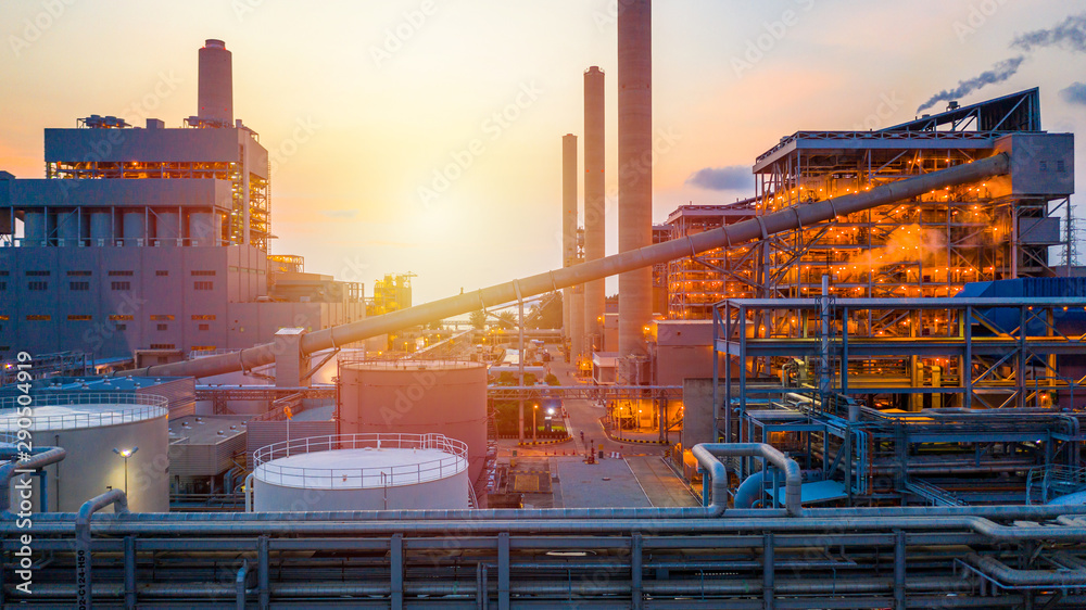 Fototapety, obrazy: Aerial view coal power station at sunset.