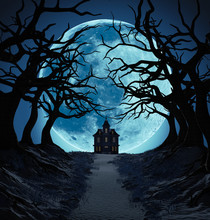 Lonely House And Dark Trees Against Big Blue Moon. Halloween Concept. 3D Illustration