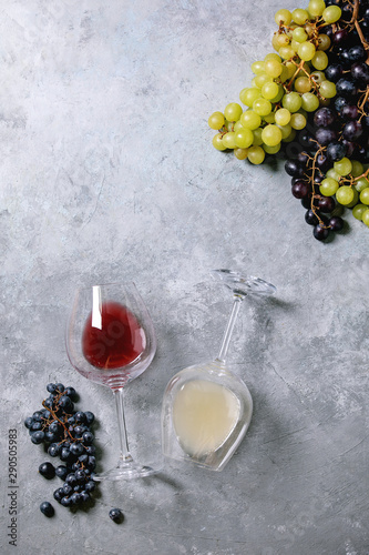 Traditional New european low alcohol red and white wine Federweisser or Neuer Wein, Burcak, Vin bourru in lying glasses with black and green grapes over grey concrete background. Flat lay, space Fototapete