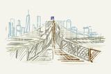 Fototapeta Nowy Jork - Rysunek ręcznie rysowany. Widok na most brookliński w Nowym Jorku w USA
