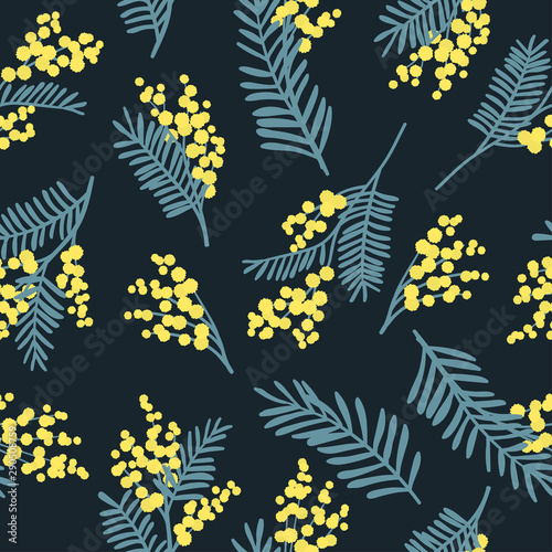 Photo Botanical seamless pattern with  mimosa flowers and leaves
