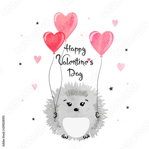 Valentines day card with cute watercolor hedgehogs in love with heart balloon Poster Mural XXL