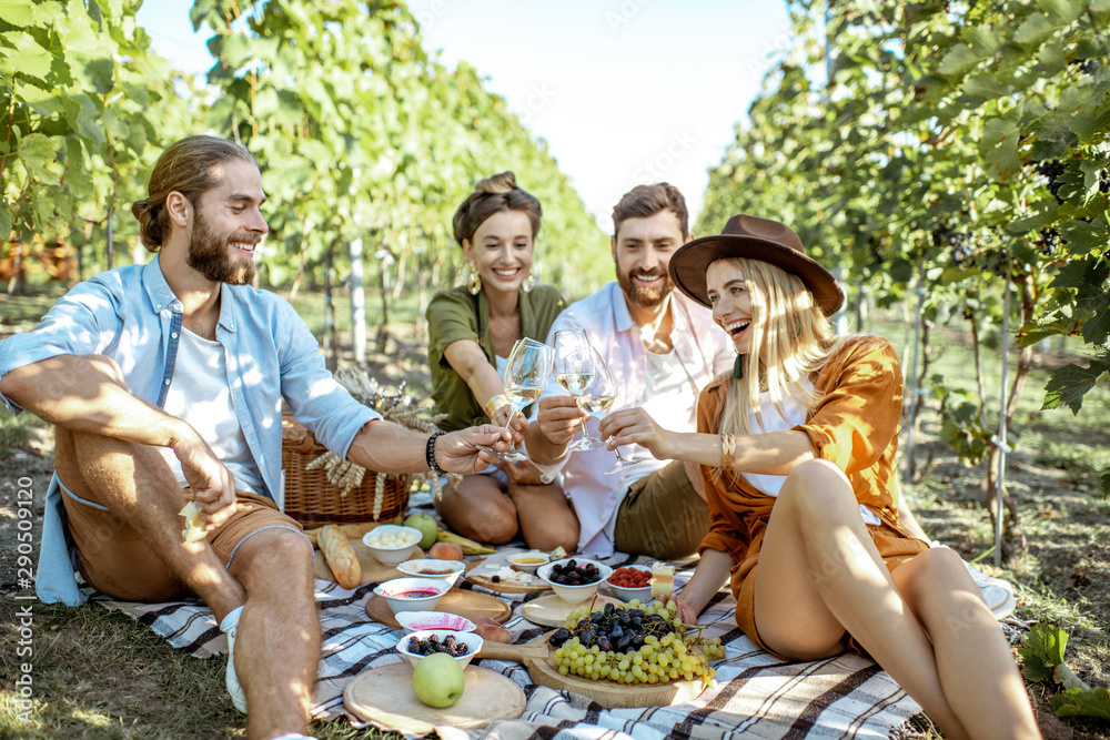 Fototapety, obrazy: Young friends having a picnic with lots of tasty food and wine, sitting together and having fun on the picnic blanket at the vineyard