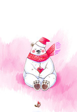 Greeting Card For New Year And Christmas, Polar Polar Bear With A Cup Of Hot Coffee, Cartoon Character, Color Pencil Drawing On Paper