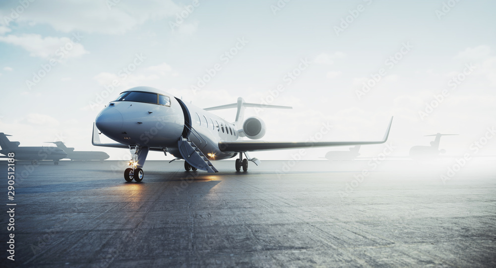 Fototapety, obrazy: Business private jet airplane parked at outside and waiting vip persons. Luxury tourism and business travel transportation concept. 3d rendering