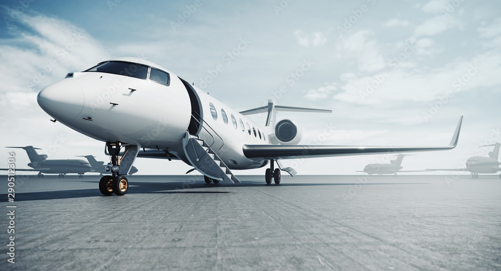 Fototapeta Business private jet airplane parked at airfield and ready for flight. Luxury tourism and business travel transportation concept. 3d rendering