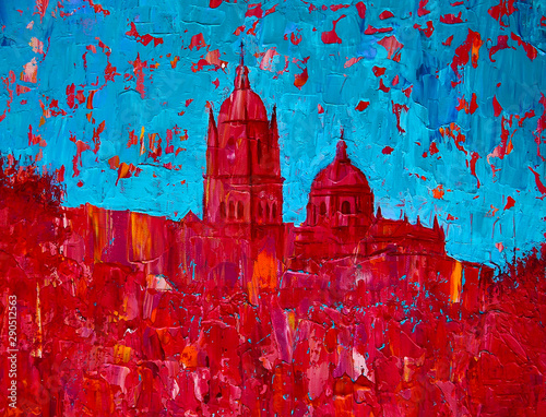 Foto auf Gartenposter Blau Abstract art painting of the Salamanca church