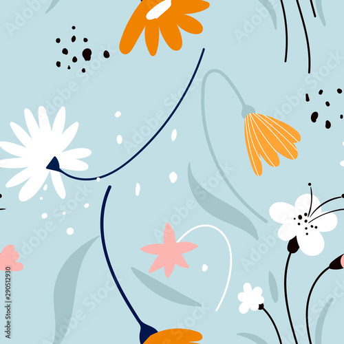 Floral patern with white flowers on a blue background Canvas Print