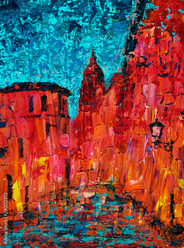Papiers peints Rouge traffic Abstract art painting of the old city