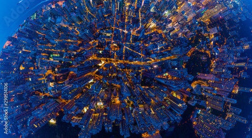 Fotografie, Tablou  Aerial top view of Hong Kong Downtown, Republic of China