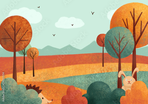 Autumn landscape (card) with rabbit, hedgehog, leaves, trees. Hand drawn illustration.