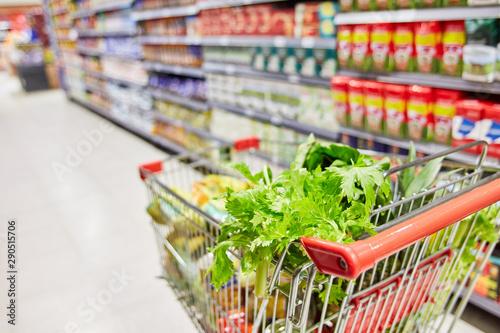 Lebensmittel im Einkaufswagen im Supermarkt Wallpaper Mural