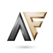 Black And Beige Glossy Dual Letters Of Letters A And F Illustration