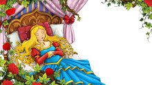 Cartoon Scene Of Rose Garden With Sleeping Princess With White Background Illustration For Children