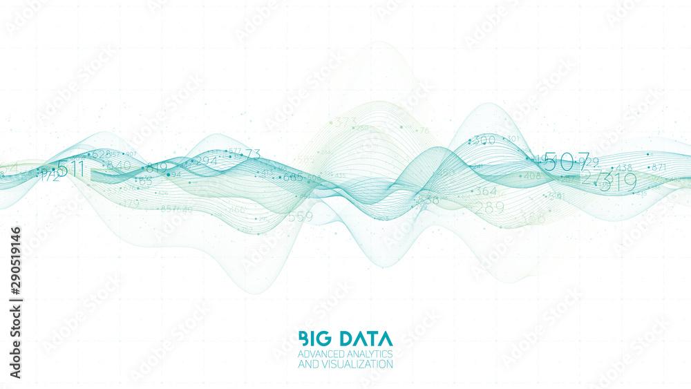 Fototapeta Violet abstract binary wave. 3D big data visualization. Intricate financial data threads analysis. Business analytics representation. Futuristic infographics aesthetic design. Finance concept