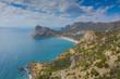 Aerial view of serpentine road in green mountains and sea, Black Sea, Novyi Svit, Crimea