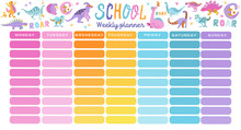 Template School Timetable. Illustration Includes Hand Drawn Cartoon Dinosaur Characters. Seven Rainbow Columns To Fill. Education Design Hand Drawn Doodle Flat Color Illustration