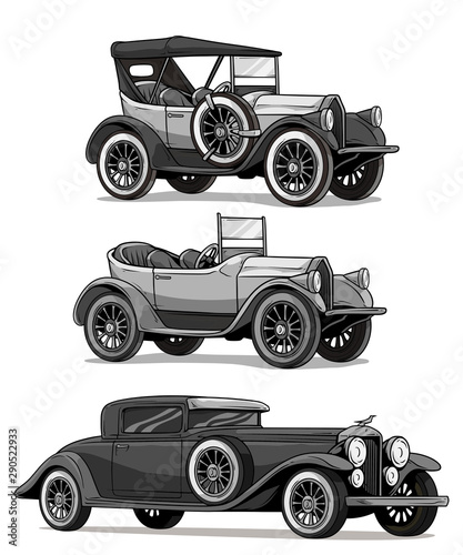 Garden Poster Cartoon cars Cartoon black and white retro vintage luxury convertible cars with spare wheel. Isolated on white background. Vector icon set.