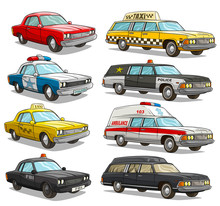 Cartoon Colorful American Old Retro Different Cars. Muscle Car And Taxi. Police And FBI. Ambulance Emergency Long Car. Isolated On White Background. Vector Icon Set.