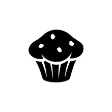 Black Muffin Icon Isolated On ...