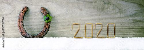 Four leaved clover and New Year 2020 background. Billede på lærred