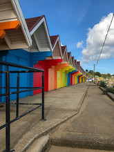 Colourful Wooden Seaside Beach Huts