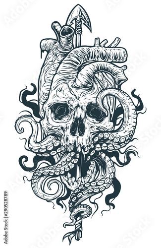 Graphic black and white detailed realistic human heart shaped skull with octopus tentacles on metal spear Wallpaper Mural