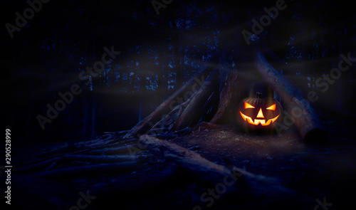 Foto  A single halloween Jack O Lantern hiding in a wood shelter, campsite on the forest floor on the right side of frame with space for text on the left