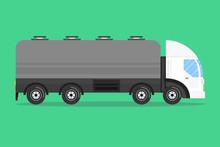 Tanker Truck. Flat Cartoon Style. Vector Illustration.