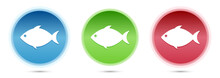 Fish Icon Glass Round Buttons Set Illustration