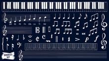 Music Notes Doodles Set. Piano...