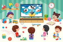 Children Watching Television In Aroom