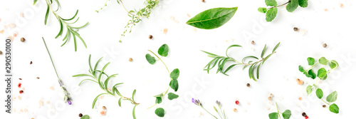 Culinary herbs and spices, shot from above on a white background, cooking pattern, a flat lay panorama - 290530100