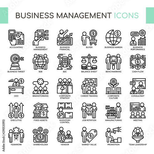 Fotografie, Obraz  Business Management , Thin Line and Pixel Perfect Icons