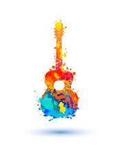 Guitar Of Watercolor Splash Paint