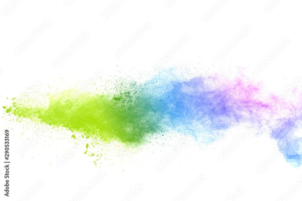 Fototapety, obrazy: Freeze motion of colorful color powder exploding on white background.  Paint Holi.