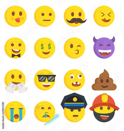 High quality collection of 16 icon of cartoon emoji Canvas Print