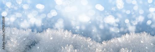 Foto auf AluDibond Himmelblau macro snow background, festive mood