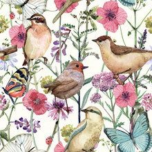 Cute Seamless Texture With Pretty Birds In Meadow Flowers. Watercolor Painting