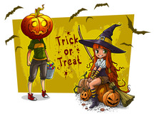 Cartoon Colorful Cute Little Redhead Smiling Witch In Big Hat With Broom And Funny Halloween Smiling Pumpkin Head Characters With Basket Of Sweets. On Background With Bats. Vector Postcard Icon.