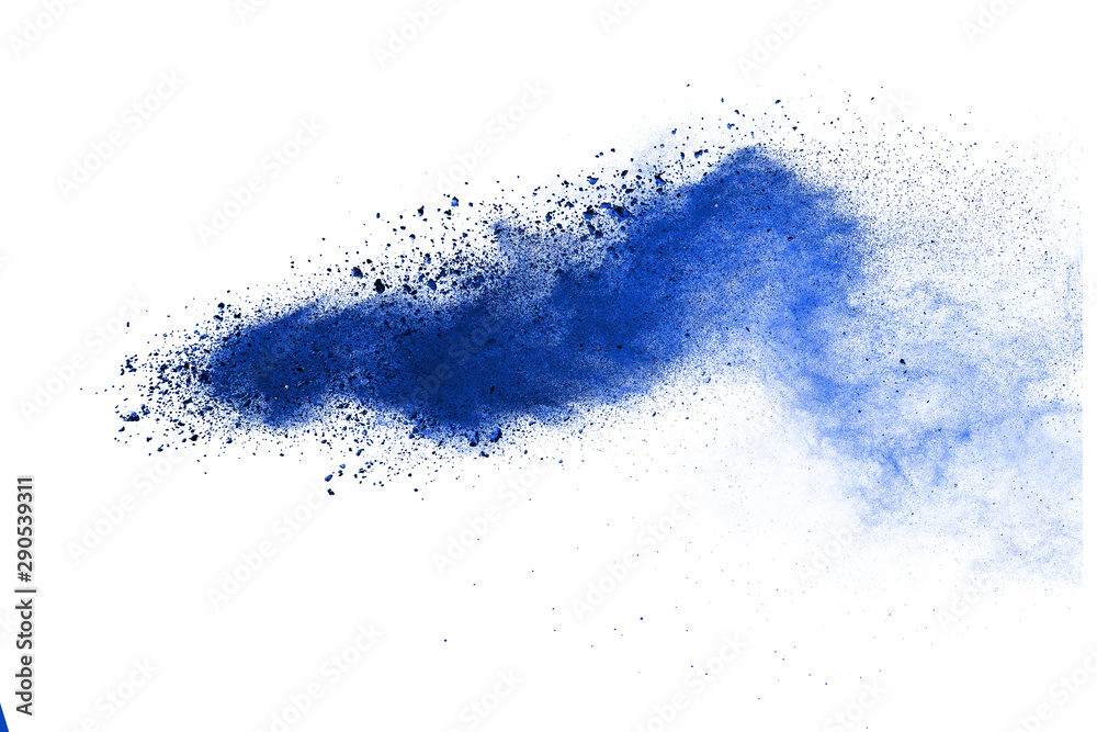 Fototapety, obrazy: Abstract blue powder explosion isolated on white background.